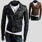New Mens Leather Motercycle Rider Bike Jacket Jumper Blazer Coat Outwear E110