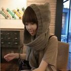 Women Ladies Knitted Scarf Hat Caps Braided Winter Warm Hooded Skiing Scarves