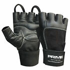 Prime weight lifting gym fitness body building weight training leather glove 115