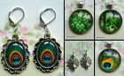 PEACOCK FEATHER ROUND NECKLACE PENDANT EARRINGS CHARM GLASS DOME CABOCHON
