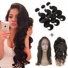 360 Lace Band Frontal Closure With Baby Hair 3 Bundles Wave Remy Real Hair Weft
