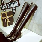 Women's Pull On High Heels Sexy Stretchy Leather Slim Leg Over Knee Thigh Boots