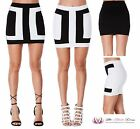 VALENTINES Womens Sexy LBD Black White Patchwork Pencil Party Short Mini Skirt