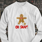 OH SNAP GINGERBREAD MAN FUNNY HUMOR CHRISTMAS Mens White Long Sleeve T-Shirt