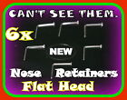 6 Clear Nose Stud/Ring  Retainers-THIN,Flat Top NO PAIN
