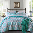 Circular Quilted Coverlet Bedspreads Set Patchwork Throw Blanket Queen King Size