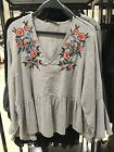 Spain Women's Gray Floral Embroidered V-Neck Ruffles Hem Sexy Top Blouse S-L