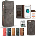 PU Leather Magnetic Removable Detachable Wallet Flip Case Cover for iPhone Model