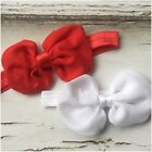 Miss LISA - CHRISTMAS Newborn Baby Girls Bow Stretch Headband Red/White