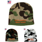 Make America Great Again, Made in USA Donald Trump Short Knit Camo Beanie Hat