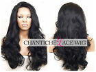 Women's Natural Looking Synthetic Wig Long Black Wavy Lace Front Wigs Heat Good