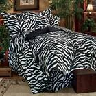 Black Zebra Bedding 10 pc Bed In Bag w/ Accent Pillows ~ ...