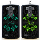 PERSONALIZED RUBBER CASE FOR LG G3 G4 G5 TEAL LIME GREEN BLACK DAMASK
