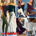 New Womens Off Shoulder Tank Top Vest Knit Long Sleeve Crop Tops Blouse T Shirt