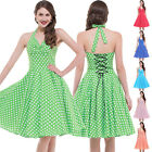 Women Vintage 50s Polka Dot Back Lace-Up Halter Swing Housewife Party Dress S-XL