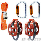 Block and Tackle System Pulley and Carabiner with 7/16in Rope for Hauling Hoist