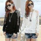 Batwing Dolman Long Sleeve Crew Neck Lace Womens Lady T-shirt Top Tee Blouse New