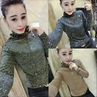 High Collar Sparkle Women Long Sleeve Tulle Casual Shirt Top Blouse Lady Clothes