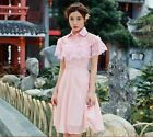 Women's fashion retro sweet stand collar embroidered lace dress