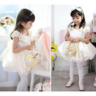 Fashion Toddler Kids Girls Clothes Beige Princess Party Formal Dresses Size 1-5Y