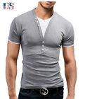 US Men's Slim Fit Muscle T-Shirts Fake 2 Pcs Casual Pullover Tee Shirt Tops Gray