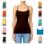 LONG Cami w/ Shelf Bra Adjustable Spaghetti Strap TANK TOP CAMISOLE S-3XL