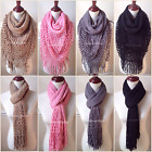 Women's Fringe Knit Fishnet Infinity Scarf 2 Loop Solid Cowl Shawl