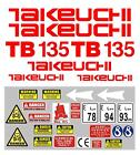 Decal Sticker set for: TAKEUCHI TB135 Mini Digger Bagger Pelle Autocollant
