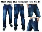 MEN'S BLU BLACK SKINNY JEANS DENIM STAR FASHION REGULAR SLIM FIT TROUSER STY 34