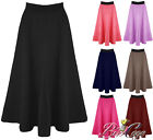 WOMENS LADIES MID LENGTH SCUBA STRETCHY FLARED SWING SKATER MIDI LONG SKIRT 8-20