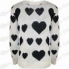 Ladies Full Sleeves Heart Print Sweater Womens Knitted Long Pullover Jumper Top