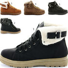 Ladies Womens Girls Flat Army Combat Biker Lace Up Military Ankle Boots Size 3-8