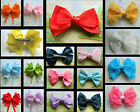 HAIR BOW RIBBON FABRIC CLIP IN 4/ 3.5 INCHES LARGE ORGANZA ROSE DOUBLE TAILS