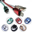 1M USB Data Cable Nylon Braided Quick Data Charging Power Cord For Apple Android
