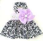 Spring/Summer Pet Dog Clothing Clothes Purple Bow Harness Dress Skirt XXXS-XL