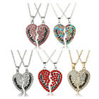 1Pair Family Women Silver Crystal #S Mother Daughter Heart Pendant Necklace Gift