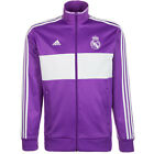 adidas Men's Real Madrid 3 Stripe Track Jacket Ray Purple/Crystal White AZ5354