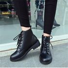 Women's Black Leather Lace Up Block Heel Riding Ankle Boots Winter Shoes Size3-5