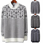 Mens New Fashion Dandy Stylish Jacquard Round Crewneck Knit Sweater Top E053 S/M