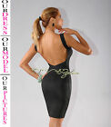 Womens New Sexy Black Plunging Back Bandage Dress Rayon Bodycon Hot