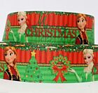 "GROSGRAIN RIBBON 1"" CHRISTMAS FROZEN  F6 PRINTED  BULK 1 3 5 YDS USA SELLER"