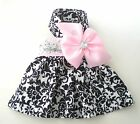 Spring/Summer Pet Dog Clothing Clothes Pink Bow Harness Dress Skirt XXXS-XL