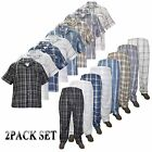 New Mens 2 Pack Set Woven Check Pajama Nightwear Lounge Top & Bottom