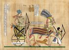 "Egyptian Papyrus Painting - Ramsis II on Chariot 8X12"" + Hand Painted #80"