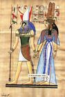 """Egyptian Papyrus Painting -  Horus and Nefertary 8X12"""" + Hand Painted #52"""