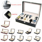 6/10/12/20/24 Grid Faux Leather Watch Display Box Storage Case Organiser