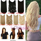 No Clips Headband Wire Hairpiece Hair Extensions 3/4 Full Head Straight Curly 8b