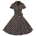 Woemn Retro Rockabilly Polka Dot Swing 50s 60s Pinup Cocktail Party Casual Drese