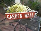 """Vintage Authentic  Aluminum Double Sided Topper Street Sign GARDEN WALL 24"""" X 6"""""""