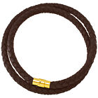 """6mm Brown Braided Bolo Leather Necklace Gold Toned Magnetic Clasp Lock 14"""" NYC"""